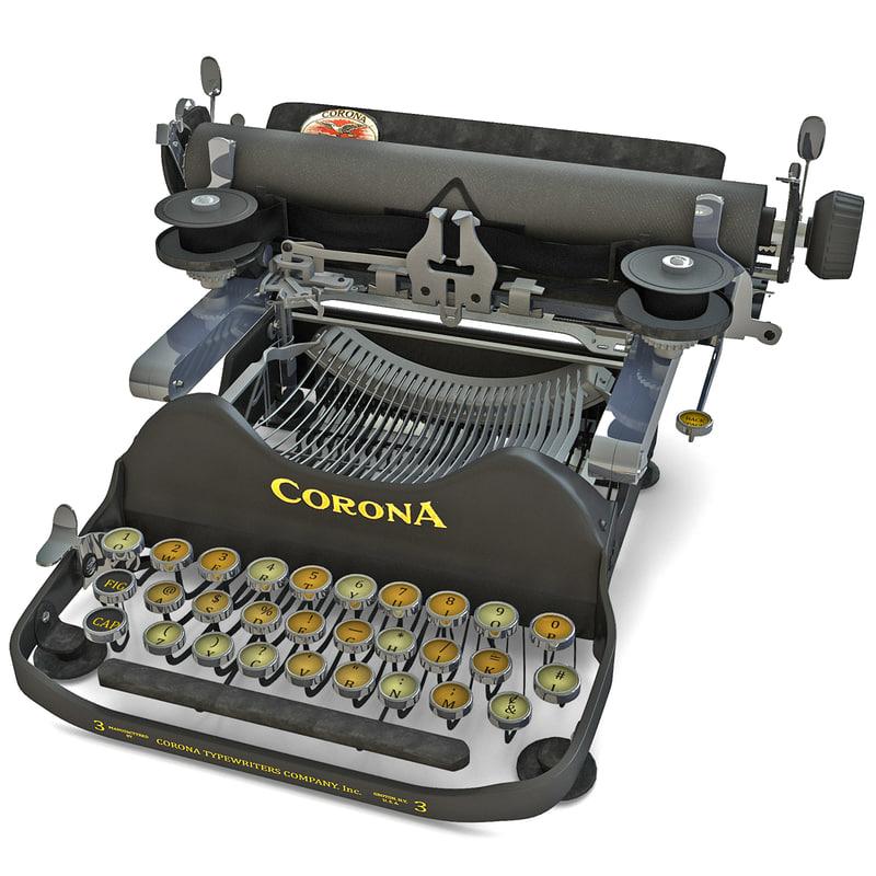 corona 1920 portable typewriter 3d model