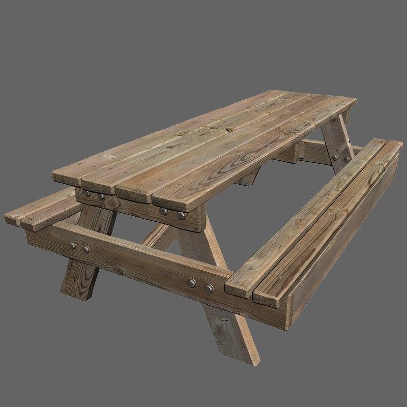 3d model park picnic table