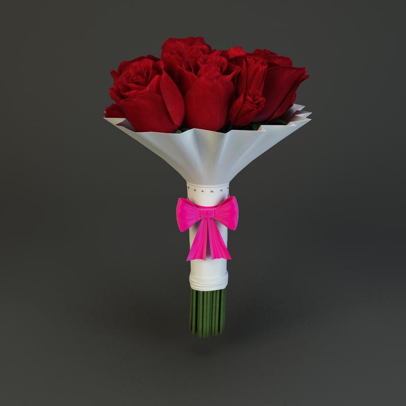 3d model bridal bouquet
