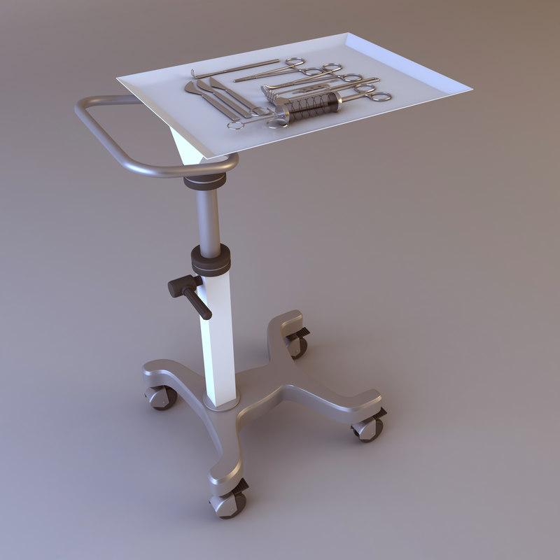 medical instruments cart 3d max