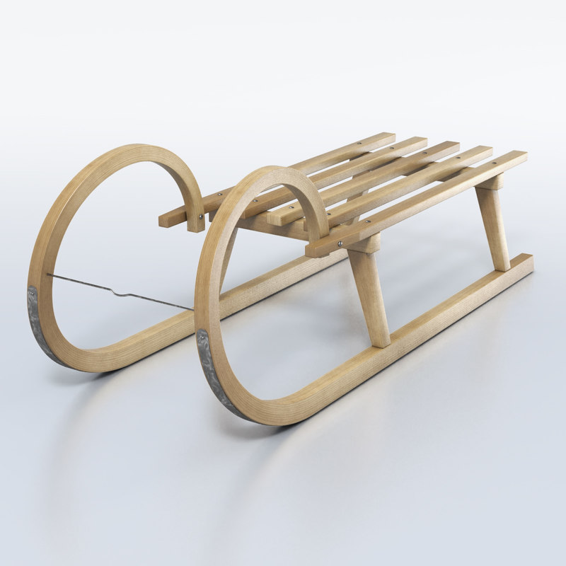 wooden sledge wood 3d model