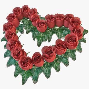 heart shaped wreath roses 3d model