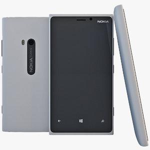 white nokia lumia 920 3d model