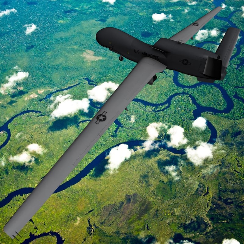 3d model rq-4 global hawk uav drone