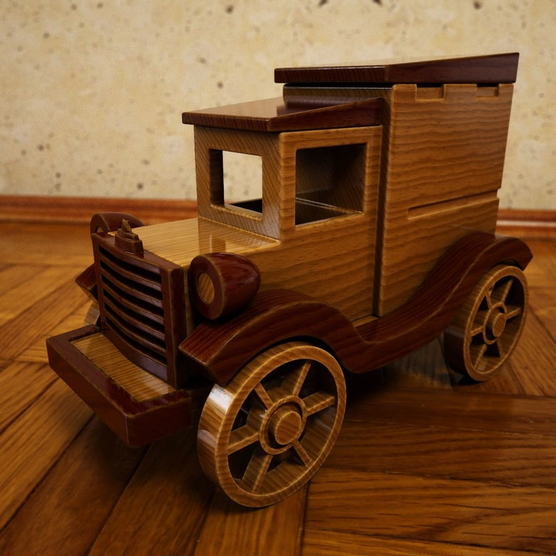 wooden toy car wood 3ds