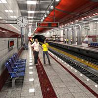 3dsmax modern subway station