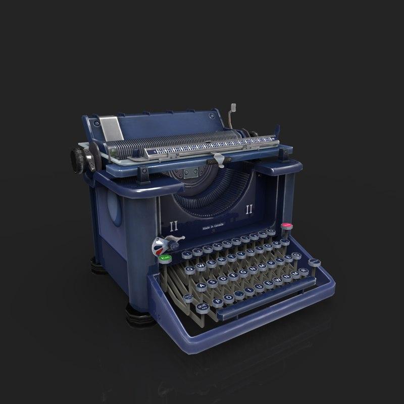 vintage typewriter 3d model