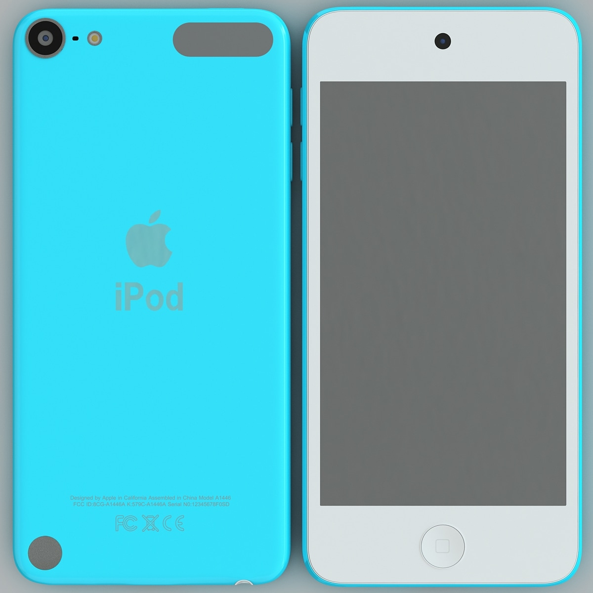 3d blue ipod touch generation model