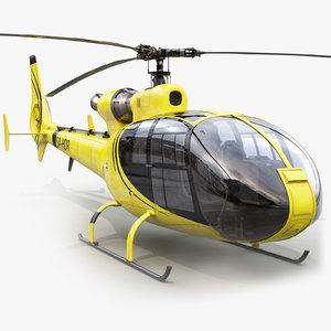 3d model of aerospatiale sa gazelle helicopter