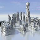 futuristic building 3D models