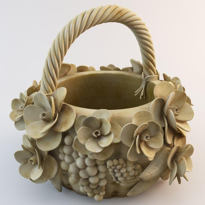 wooden basket 3d model