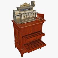 old cash register set 3d 3ds
