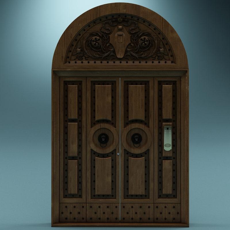 wood door 3d 3ds