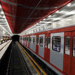 subway station train - 3d max