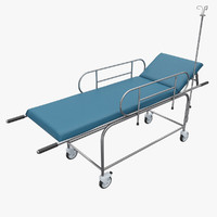 3d hospital stretcher trolley model