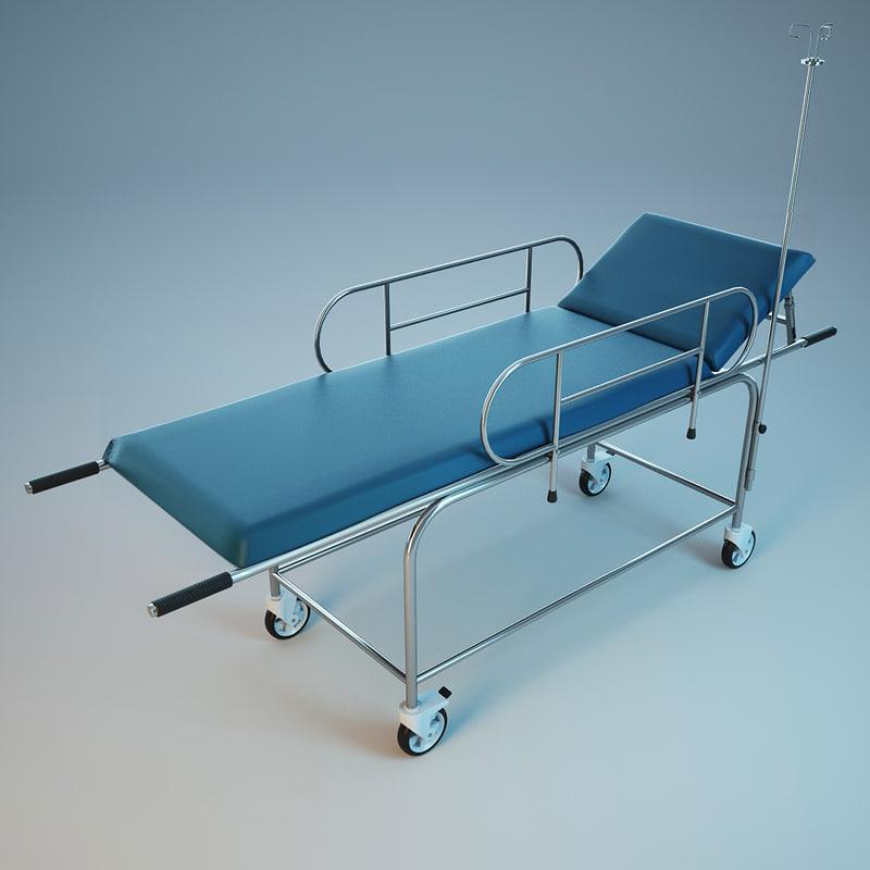 3d hospital stretcher trolley model
