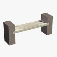3d model ed bench stone wood
