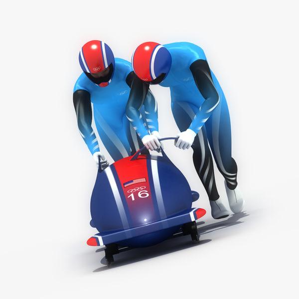 3ds max ged bobsledder athlete bobsled