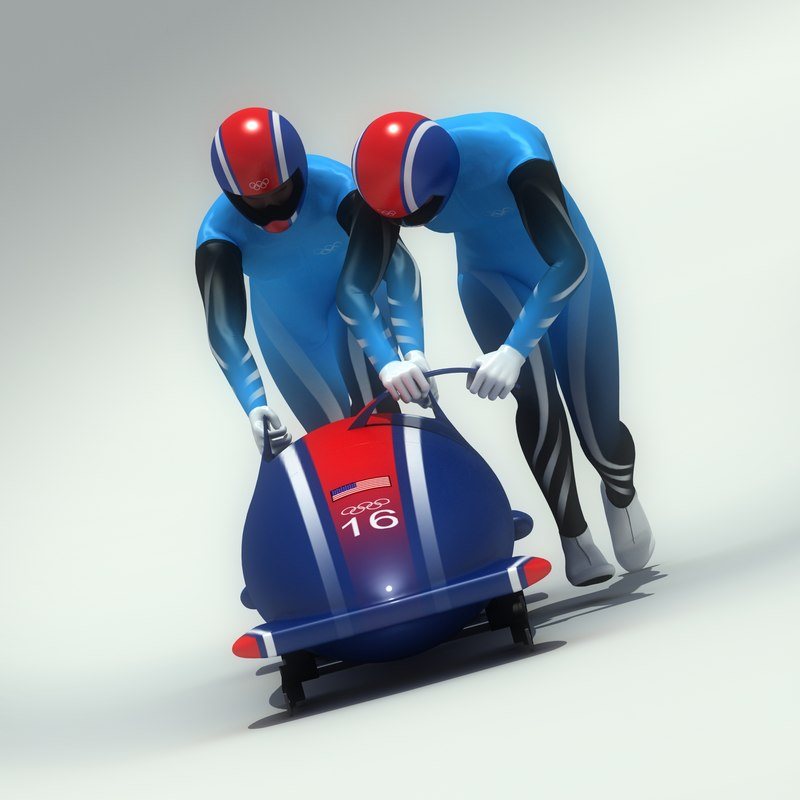 3ds max ged bobsledder athlete bobsled
