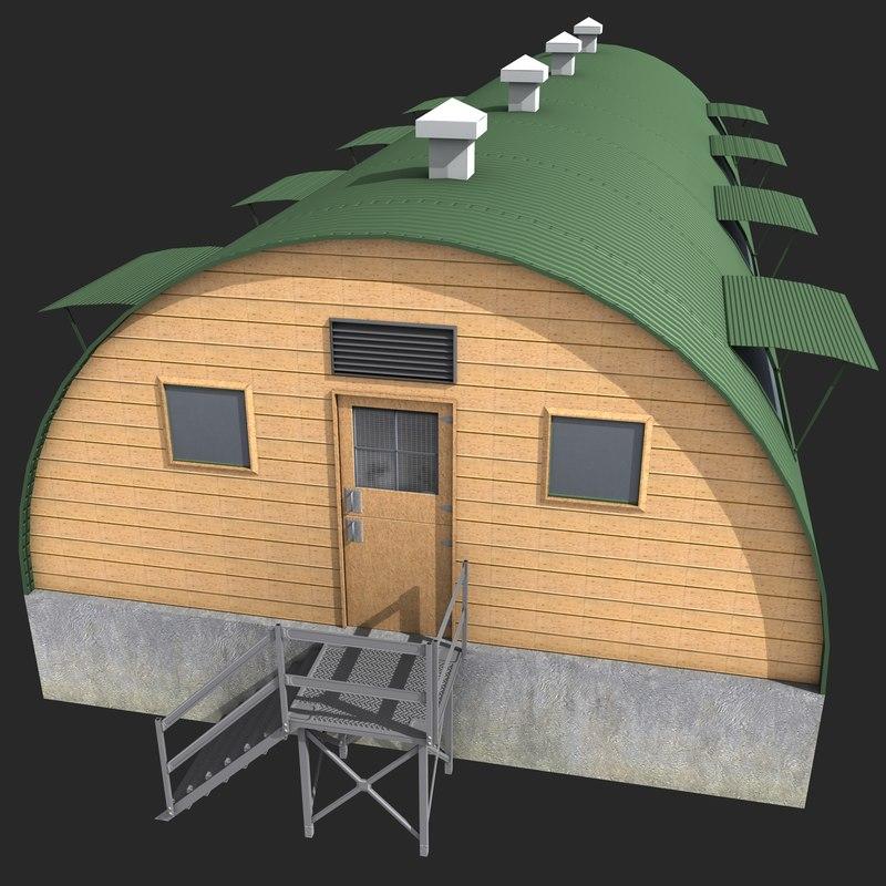 3d model quonset barrack
