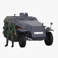 Sd Kfz 251/1 and Soldier