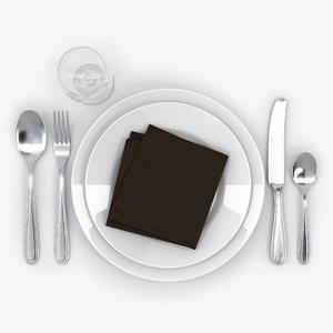 realistic table set 3d model