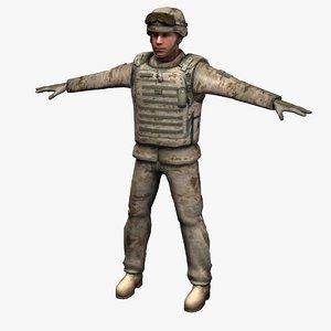 3d model marine corps soldier d