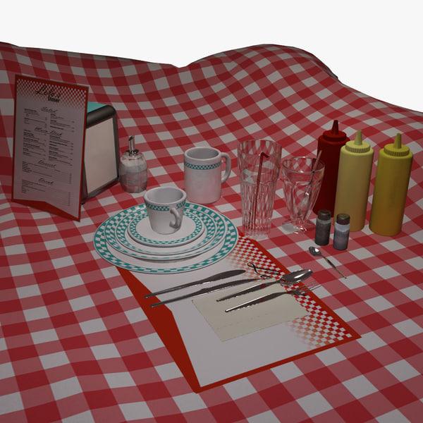 3d set dishes diner model
