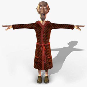 3d old uncle character human model