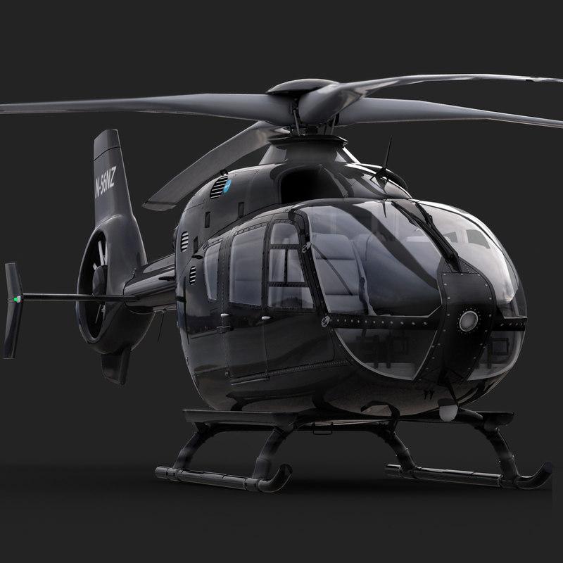 3d model eurocopter ec 135 black