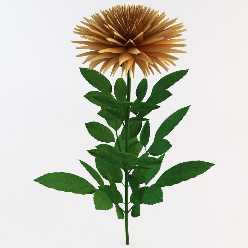 3d orange dahlia flower garden model