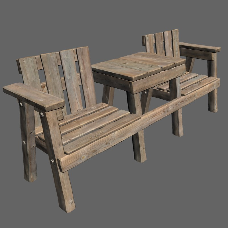 3d model of realistic wooden table chair