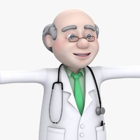 Cartoon Old Man Doctor