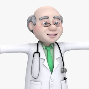 cartoon doctor old man 3d max