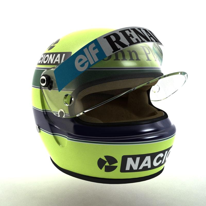 ayrton senna helmet 1985 3d model