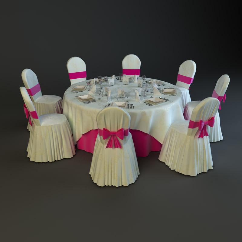 banquet table 3d max