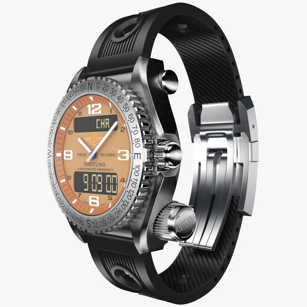 3ds max breitling emergency modeled watch