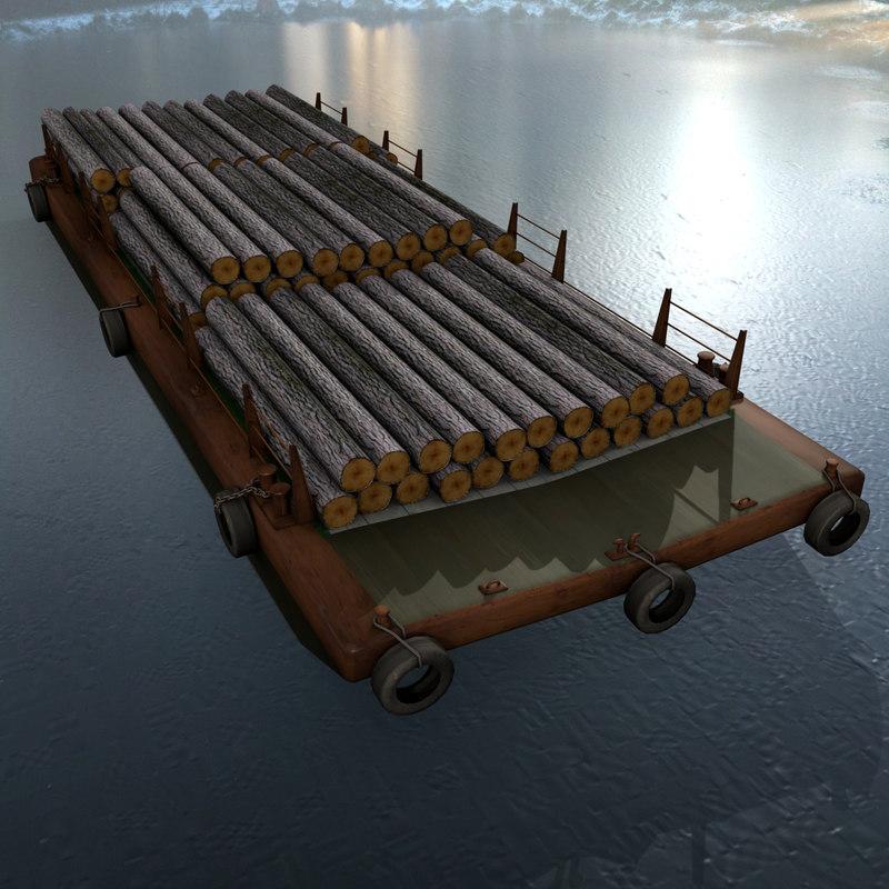 3d model bulk barge trunks cargo