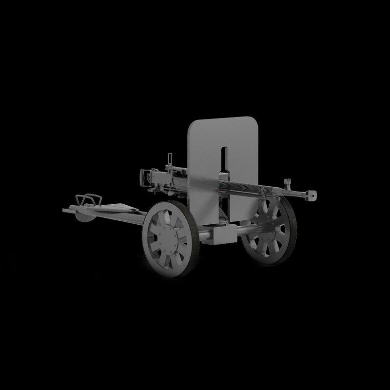 dshk heavy machine gun 3d lwo
