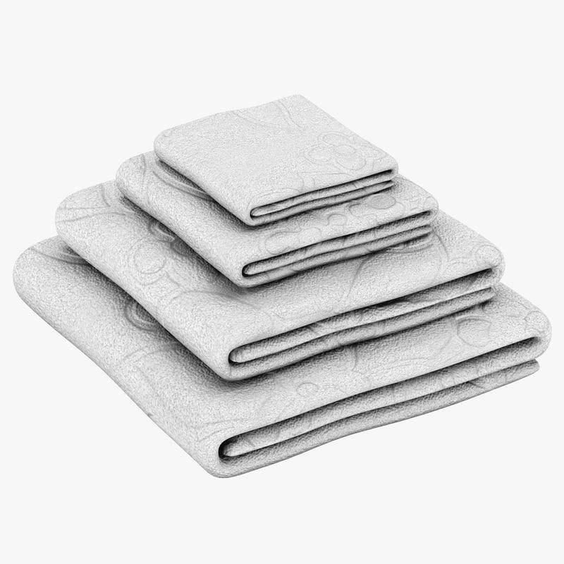 bath towels set 3d model