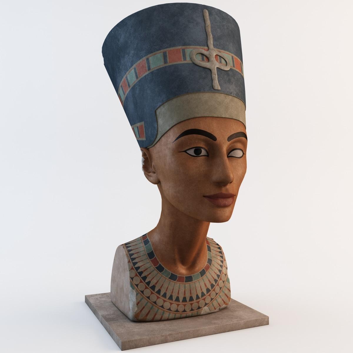 egyptian nefertiti bust 3d model