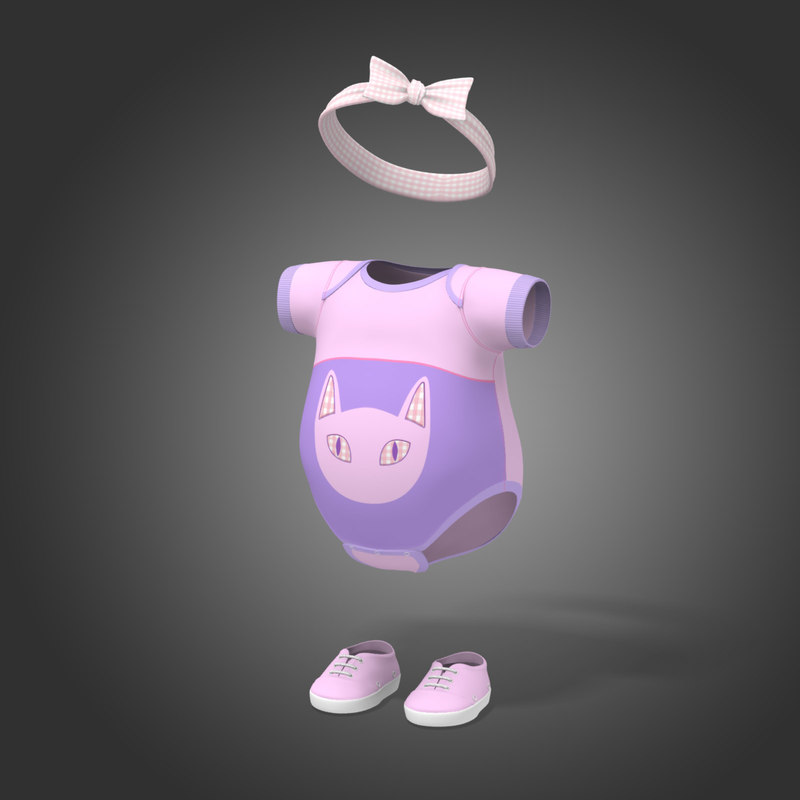 3d modeled baby clothes summer