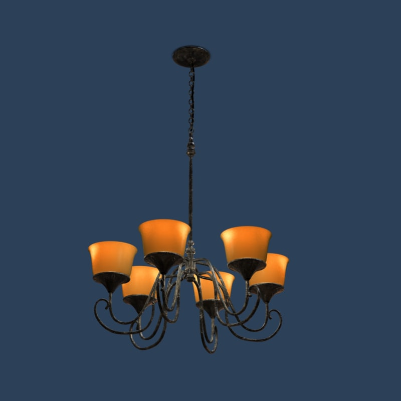 wrought iron chandelier lighting obj