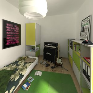 boy room interior 3d model