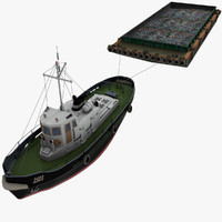 tugboat tug barge boat 3d 3ds
