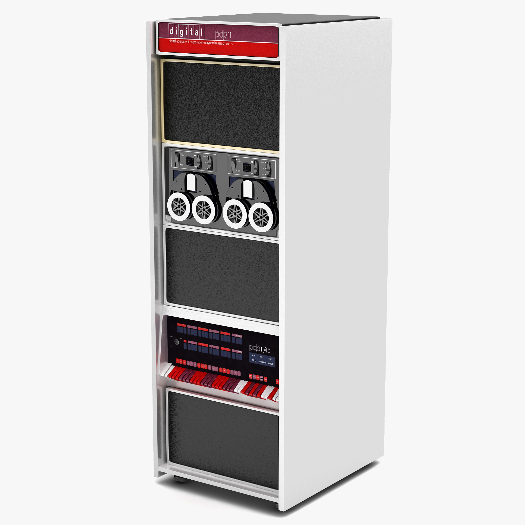 3d model of old minicomputer pdp-11