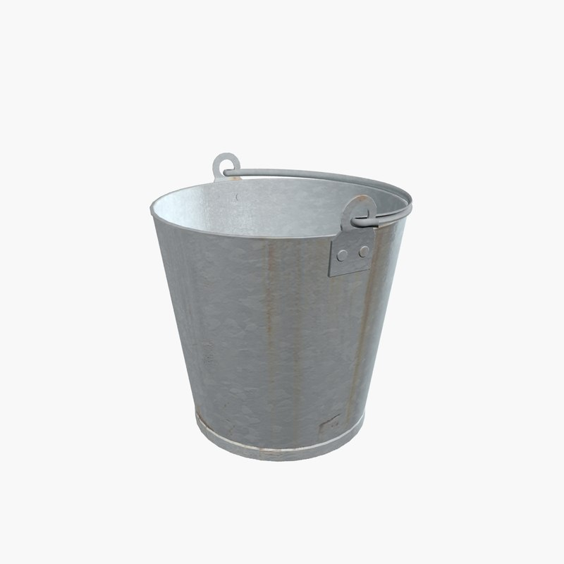 3d model of old galvanized bucket