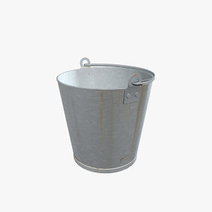 3d model of old galvanized bucket