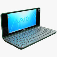 3d model green sony vaio laptop