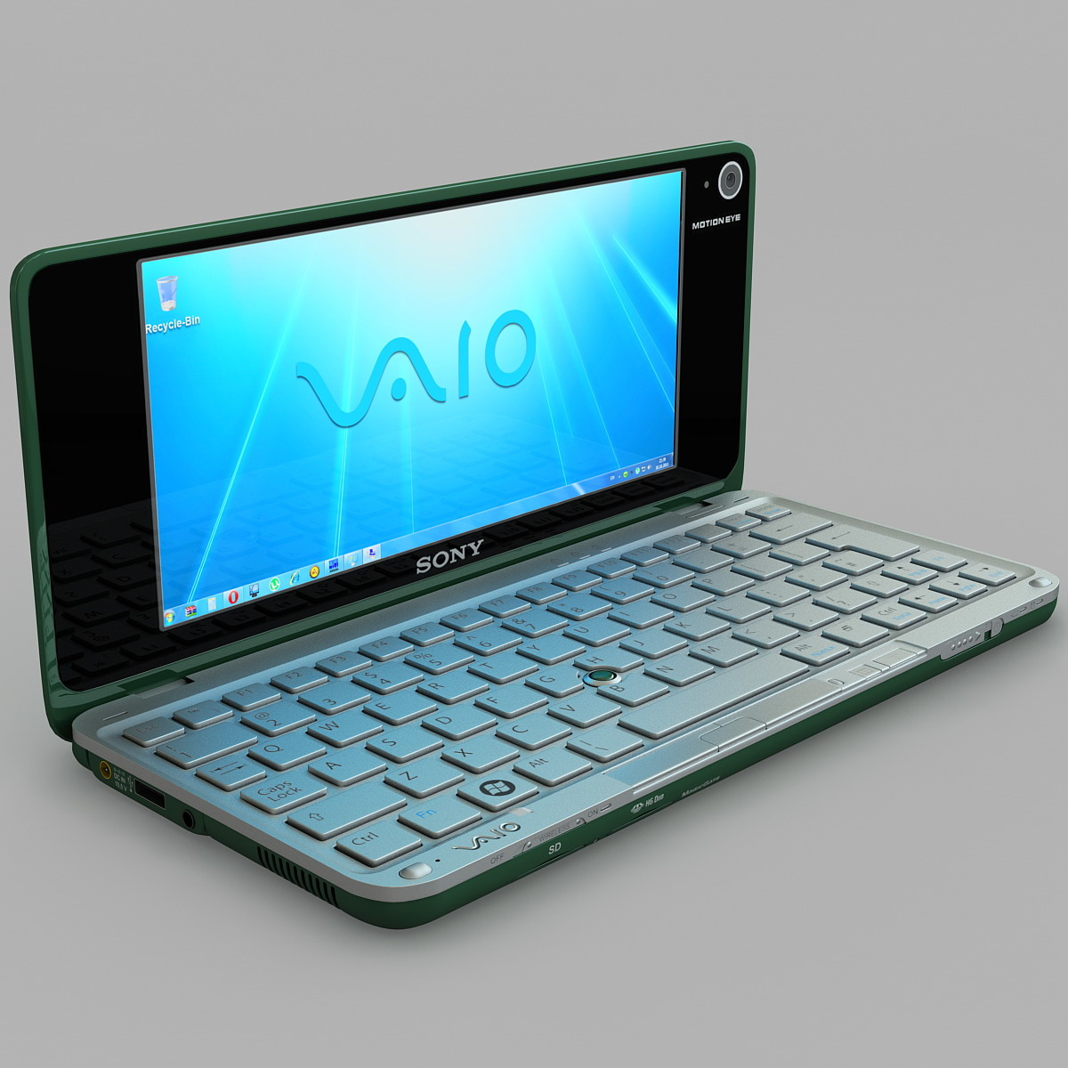 3d model green sony vaio laptop